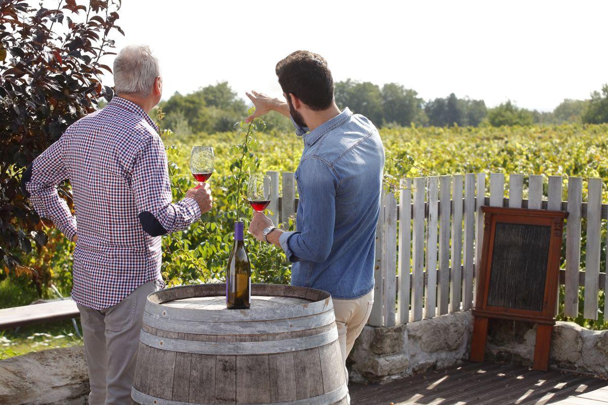 Enjoying a bottle overlooking the vineyards.